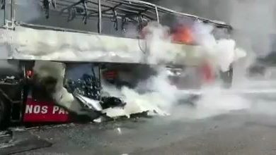 حريق يلتهم حافلة لنقل الركاب بين طنجة والقصر الصغير(صور) 2