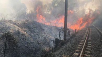 حريق ضواحي طنجة يتسبب في توقف حركة القطارات 2