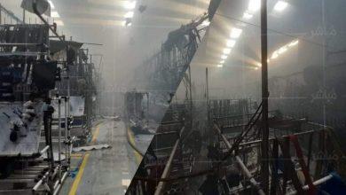 الوالي مهيدية يتفقد المصنع الذي احترق بالمنطقة الصناعية 6