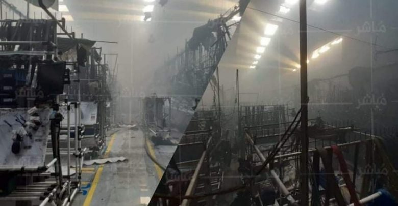 الوالي مهيدية يتفقد المصنع الذي احترق بالمنطقة الصناعية 1