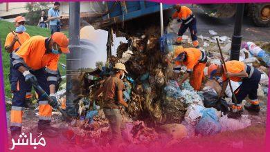 في يوم العيد شركات النظافة وبإشراف مباشر من الجماعة تجمع ما يقارب 9000 طن من النفايات بأحياء طنجة 4