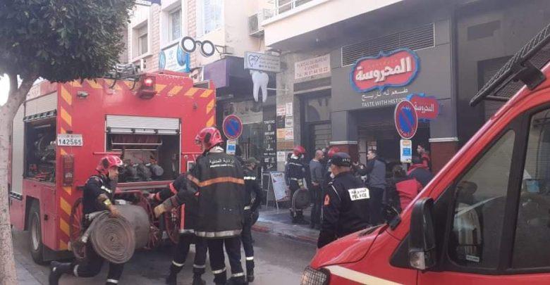 حريق يأتي على مطعم وسط مدينة طنجة 1