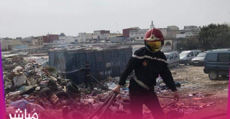 """الوقاية المدنية تسيطر على حريق كاد يتسبب في كارثة بسوق """"كاسابراطا"""" 1"""