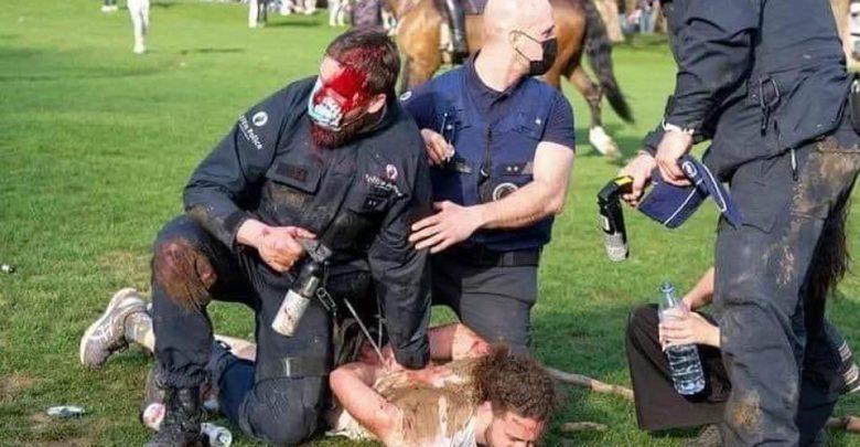 بلجيكا..صدامات بين الشرطة والآلاف من المحتجين ضد إجراءات الإغلاق 1