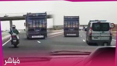 الدرك الملكي يطارد شاحنة بالطريق السيار محملة بالحشيش رفضت التوقف 5
