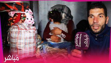أسرتين تعيشان رفقة أطفالهما في الشارع بطنجة بعد طردهما من منزل للكراء 1